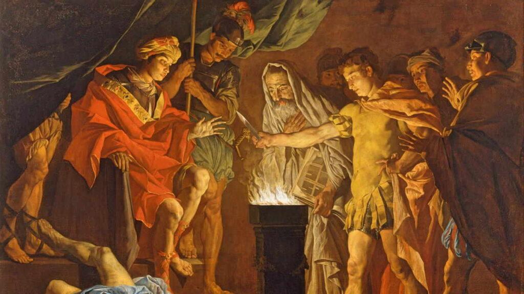 tablou scena Gaius Mucius Scaevola si-a ars mana 2